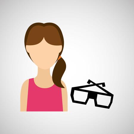 woman character glasses 3d movie design vector illustration Illustration