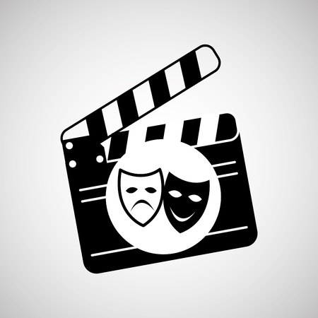 theatrical mask: theatrical mask clapper movie graphic vector illustration