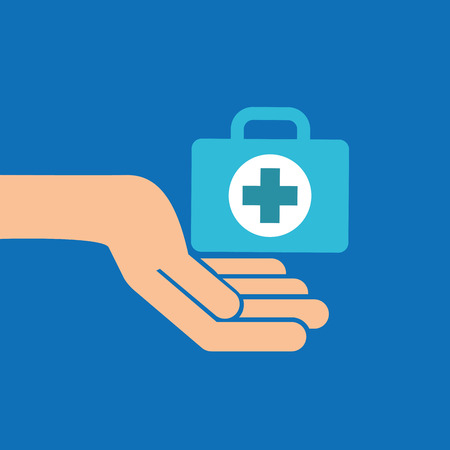 hands with kit first aid emergency icon vector illustration Illustration