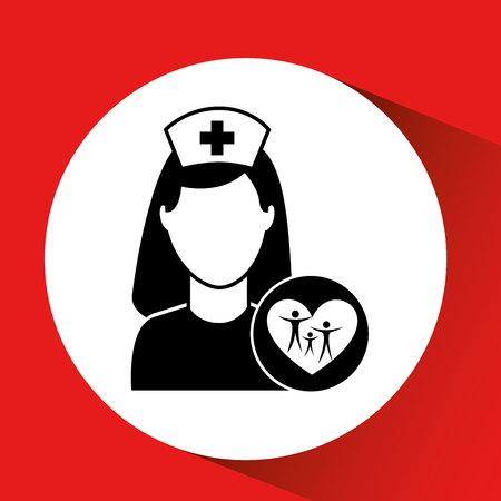 family hospital icon building cross vector illustration