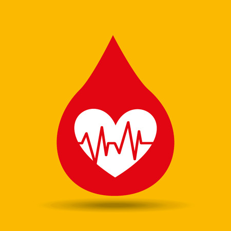 hands care cardiology heart pulse icon vector illustration