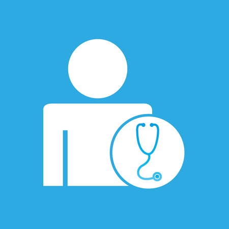 specialist: silhouette man with stethoscope health graphic vector illustration eps 10 Illustration