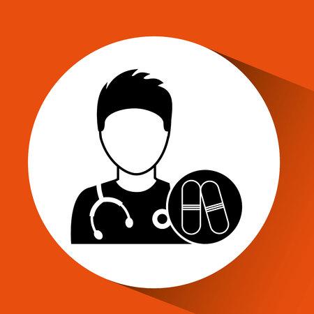 validez: enfermera con medicamentos cápsula de la píldora ilustración vectorial de diseño Vectores