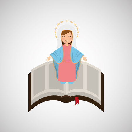 popular belief: blessed virgin mary with bible design vector illustration Illustration