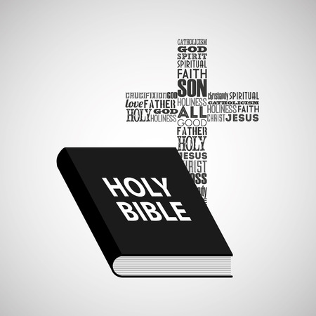 council: holy bible religious cross with words vector illustration