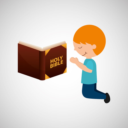 the scriptures: boy kneeling and bible icon vector illustration