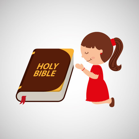the scriptures: happy girl praying with big bible icon design vector illustration
