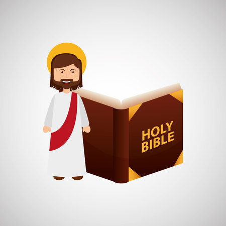jesus christ happy with bible design vector illustration Illustration