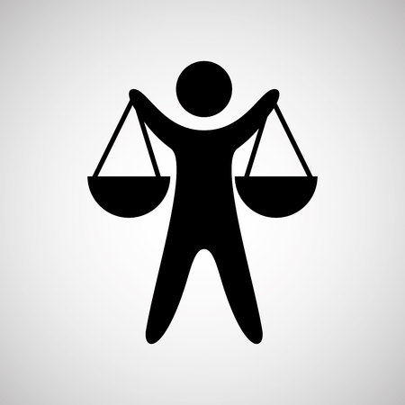 trial balance: silhouette man scale justice icon graphic vector illustration Illustration