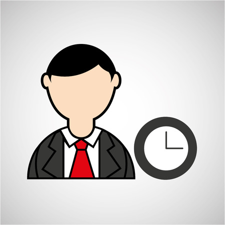 ocupation: avatar man with suit and time clock graphic vector illustration