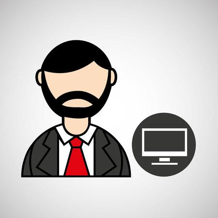 burly: man bearded pc computer icon vector illustration Illustration