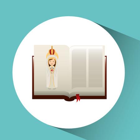 religion catolic virgin mary haert bible design vector illustration Vektoros illusztráció