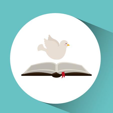 holy spirit open bible icon religion design vector illustration Illustration