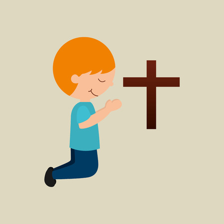 boy kneeling bleesed bible icon vector illustration