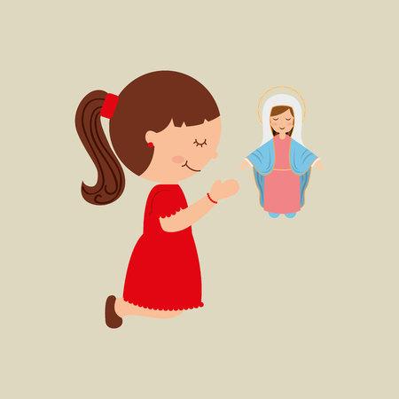 cartoon girl praying with holy bible design vector illustration