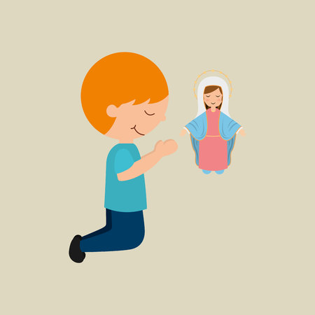 cute boy blessed on bible  icon vector illustration Illustration