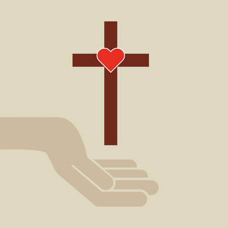 sacred heart: hands with cross and sacred heart icon vector illustration