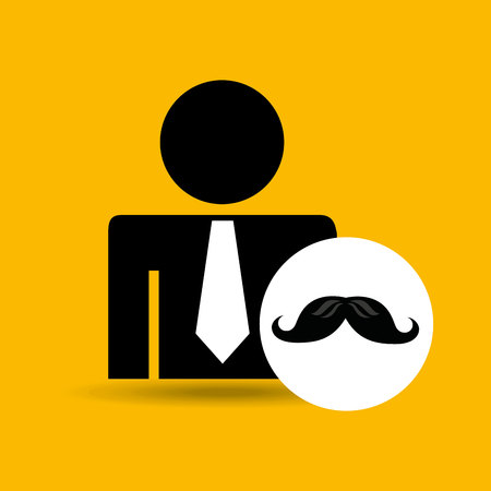 the appearance: man silhouette business and moustache design icon vector illustration Illustration