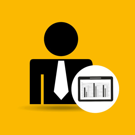 man silhouette business and tablet statistics design icon vector illustration