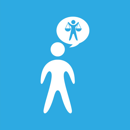 scale of justice: silhouette man scale justice icon graphic vector illustration Illustration