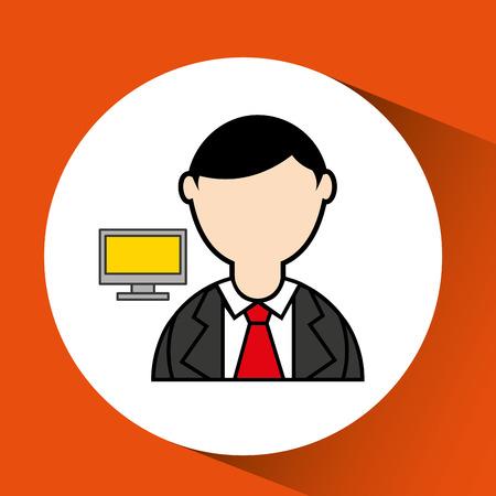 man bearded pc computer icon vector illustration Illustration