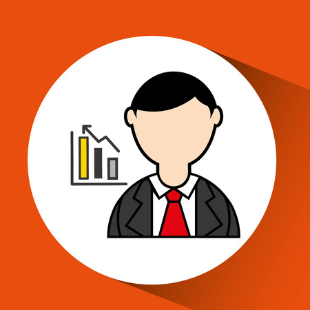 avatar man with suit and statistics graphic vector illustration