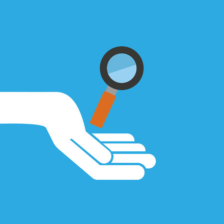 hand hold icon search loupe design flat isolated vector illustration eps 10 Illustration