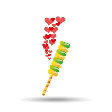 companionship: sweet lollipop with hearts red icon vector illustration Illustration