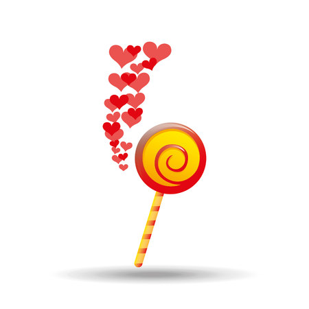 lollipop red and yellow round with red hearts icon vector illustration