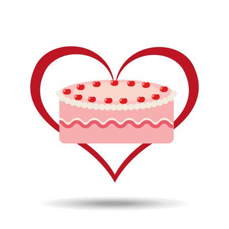 heart cartoon sweet cake strawberry icon design vector illustration Stock Photo