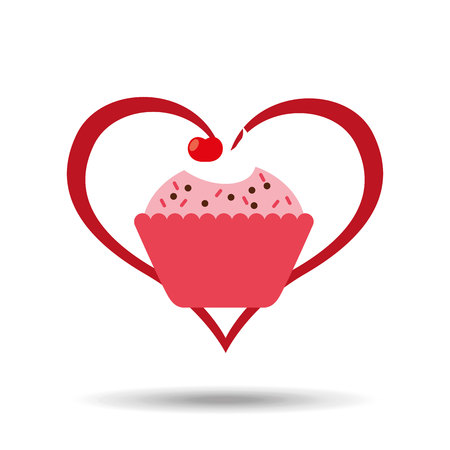 heart cartoon sweet cup cake pink chips and cherry icon design vector illustration