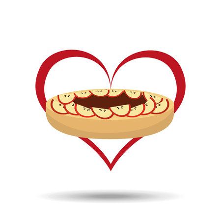 heart cartoon cake apple and sweet chocolate icon design vector illustration