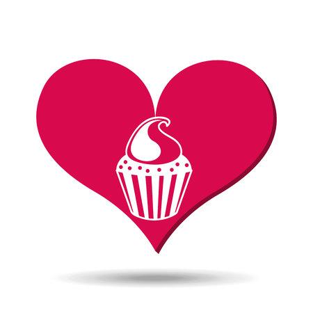 choc: heart red cartoon cupckae chips icon design vector illustration