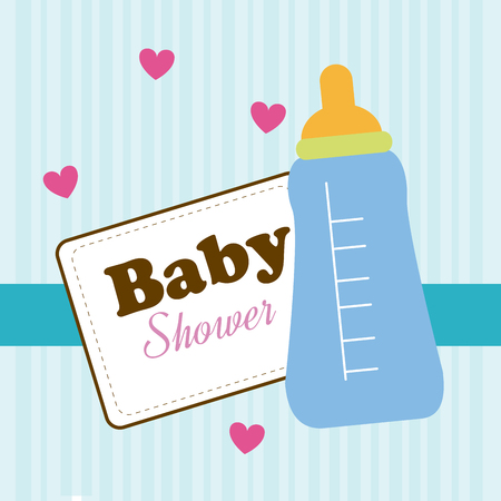 invite congratulate: Baby shower design over blue background,vector illustration Illustration