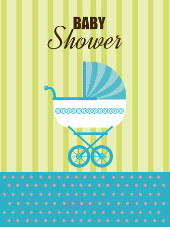 invite congratulate: Baby shower design over green and blue background,vector illustration