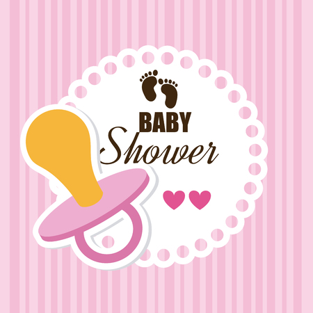 invite congratulate: Baby shower design over pink background,vector illustration