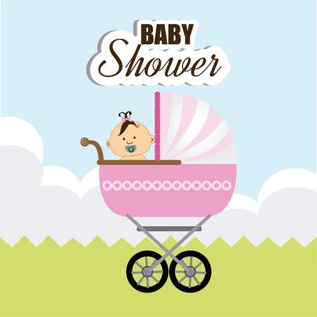 invite congratulate: Baby shower design over landscape background,vector illustration