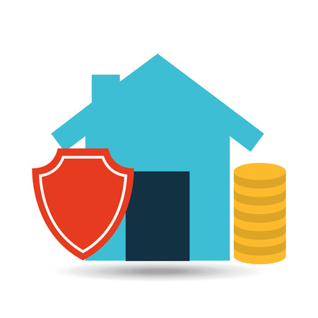 secured property: concept insurance house money security design vector illustration