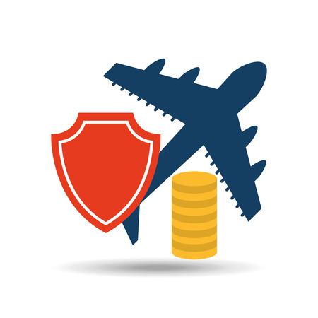 insurance airplane airport money design vector illustration