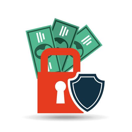 insure: insurance protection security money bill dollar design vector illustration