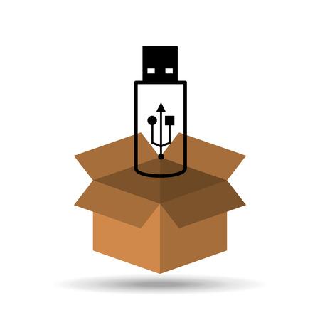silhouette USB flash drive design icon vector illustration
