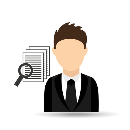 character man with document search design vector illustration eps 10 Illustration