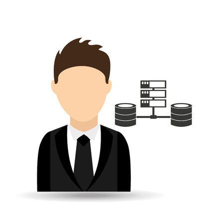 character man with computer server data design vector illustration eps 10
