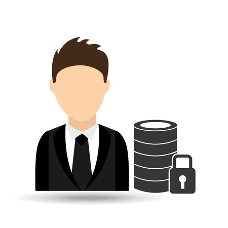 character man with security database design vector illustration eps 10