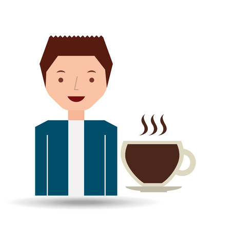cartoon guy with cup coffee hot design icon vector illustration