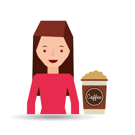 parameter: woman cute cup coffee cream graphic vector illustration