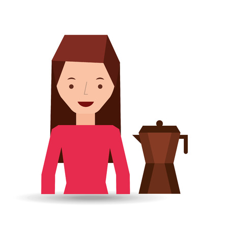 woman cute maker coffee graphic vector illustration Illustration