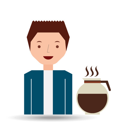 cartoon guy with maker coffee design icon vector illustration Illustration