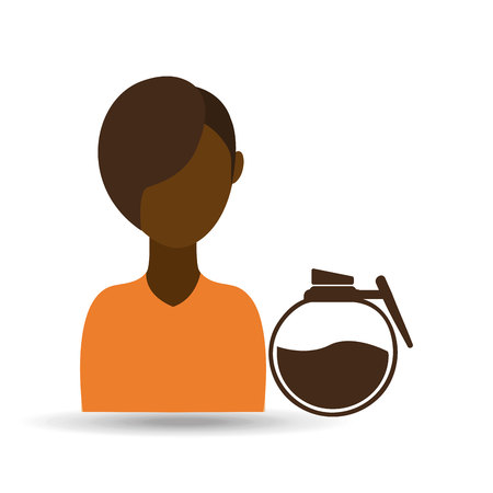 coffee maker girl icon graphic vector illustration Illustration