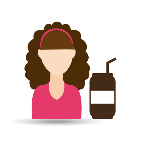 character girl soda coffee icon graphic vector illustration